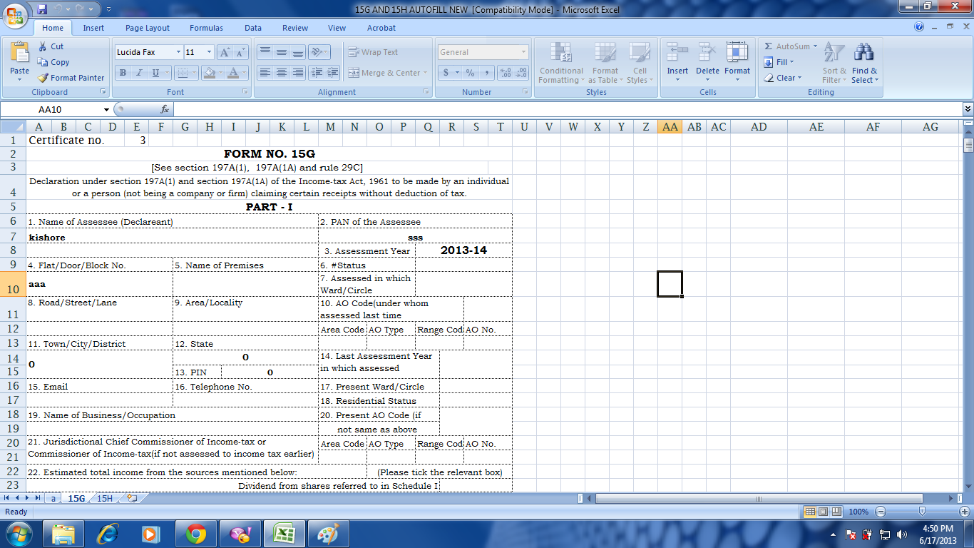 new format of form 15g and 15h with auto fill facility in excel