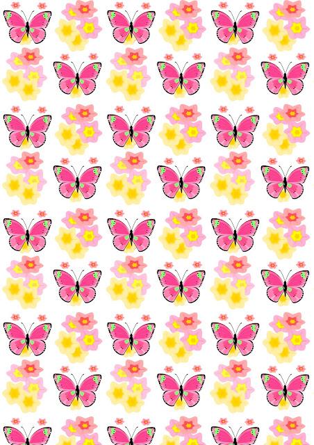 Free digital butterfly scrapbooking paper wonder - Geschenkpapier + monthly calendar