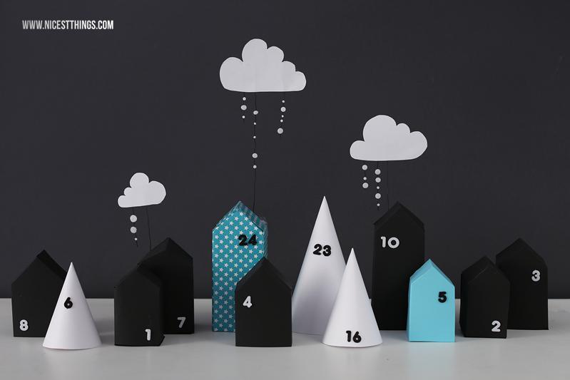 Adventskalender Dorf: DIY Adventskalender Häuschen aus Papier