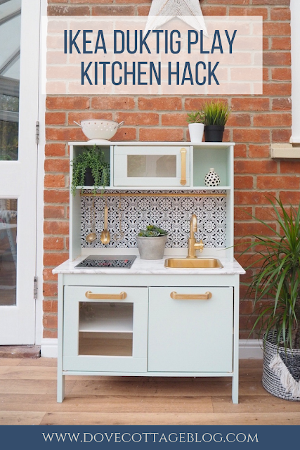 Ikea hack Duktig play kitchen upcycled using Rustoleum spray paint, Valspar paint, marble contact paper and tile stickers