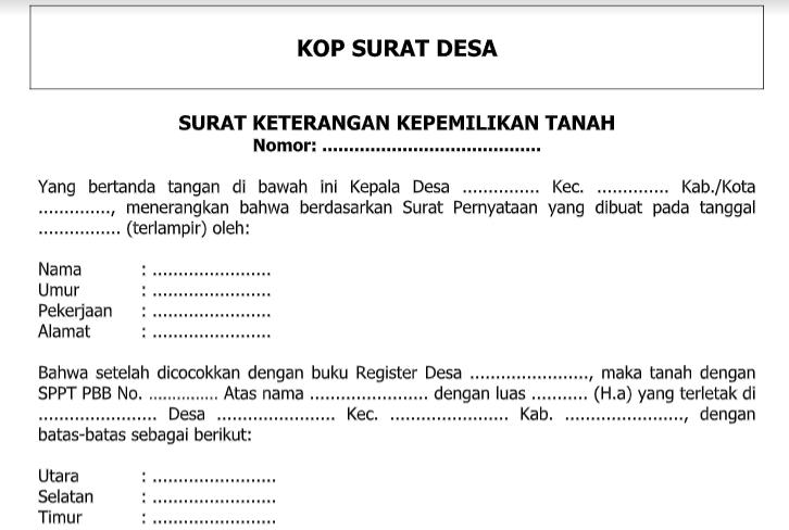 Contoh Surat Pernyataan Kepemilikan Tanah Simak Gambar Berikut