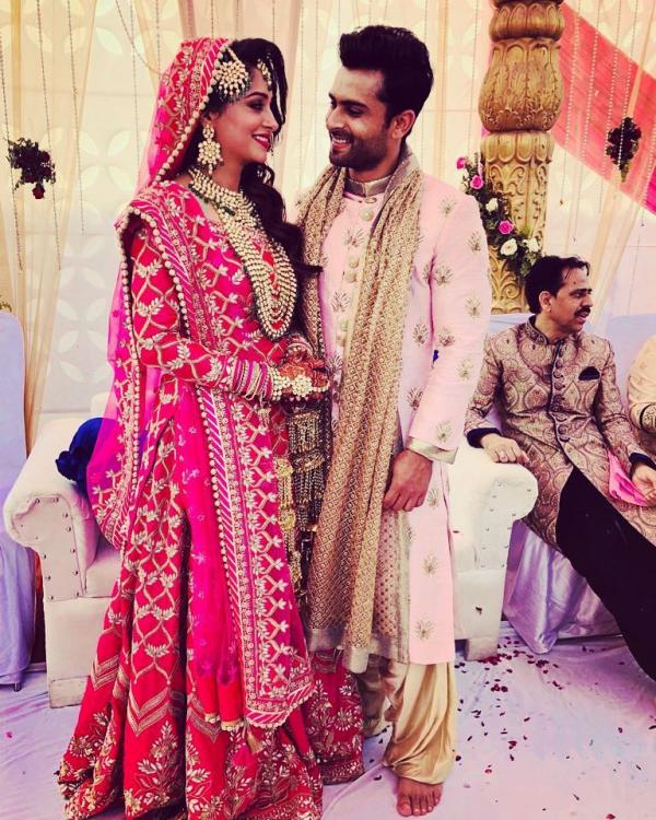 74f87dea1a The beautiful pink Lehenga of the Bride and the pink blushed Sherwani of  the groom paired so well. They are 'made for each other' and 'mad for each  other' ...