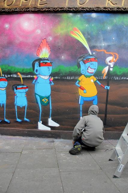 Street Art Mural By Brazilian Artist Cranio In East London, UK. 2