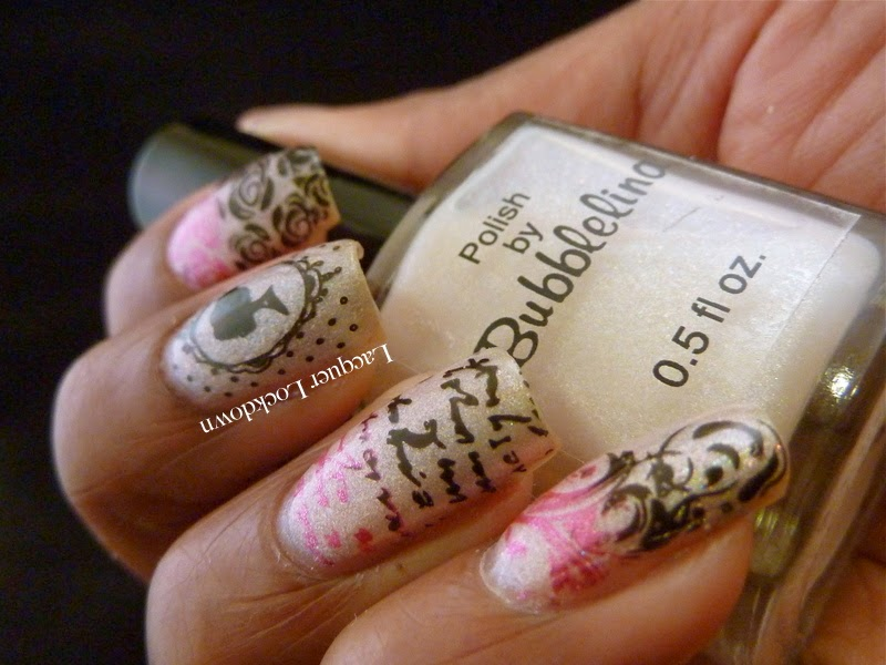 Lacquer Lockdown - Bubblelina Hot Suga, thermal polish, MoYou London Pro 04, MoYou London Pro Collection, stamping, nail art, pueen 2014, diy nails, cute nails, easy nail art, nail art ideas, scented polish, pink sugar scent, cameos, roses, letters, filgree, gradient nails