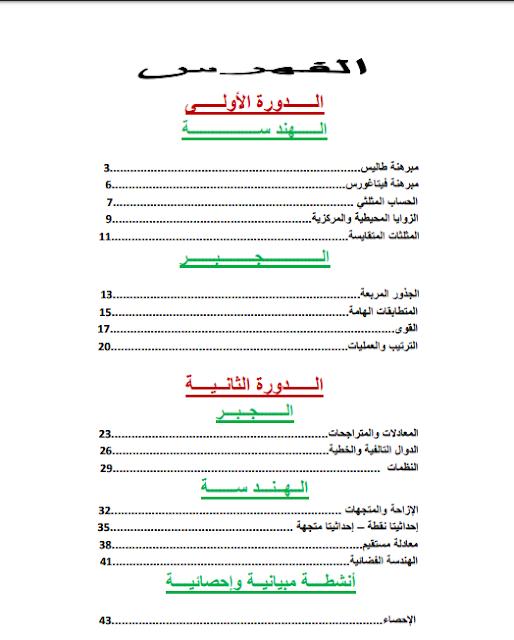 ملخصات دروس الرياضيات للمستوى الثالث إعدادي