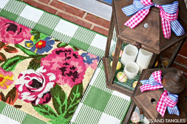 buffalo check rug, floral doormat, front porch decorations, Spring porch lanterns