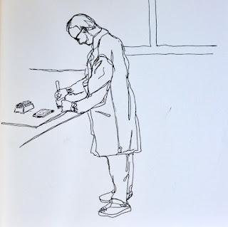 Ink sketch scientist