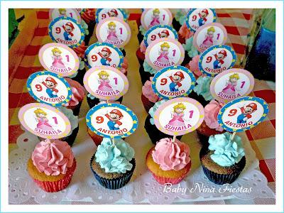minicupcakes mario bros y princesa peach