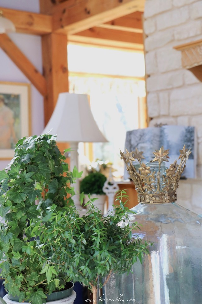 Winter French Country living room old glass water bottle