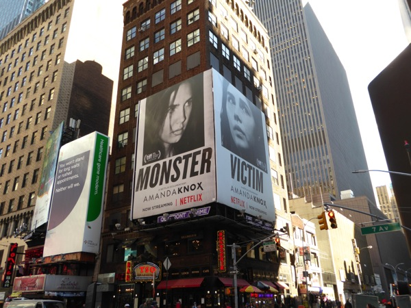 Amanda Knox documentary billboards NYC