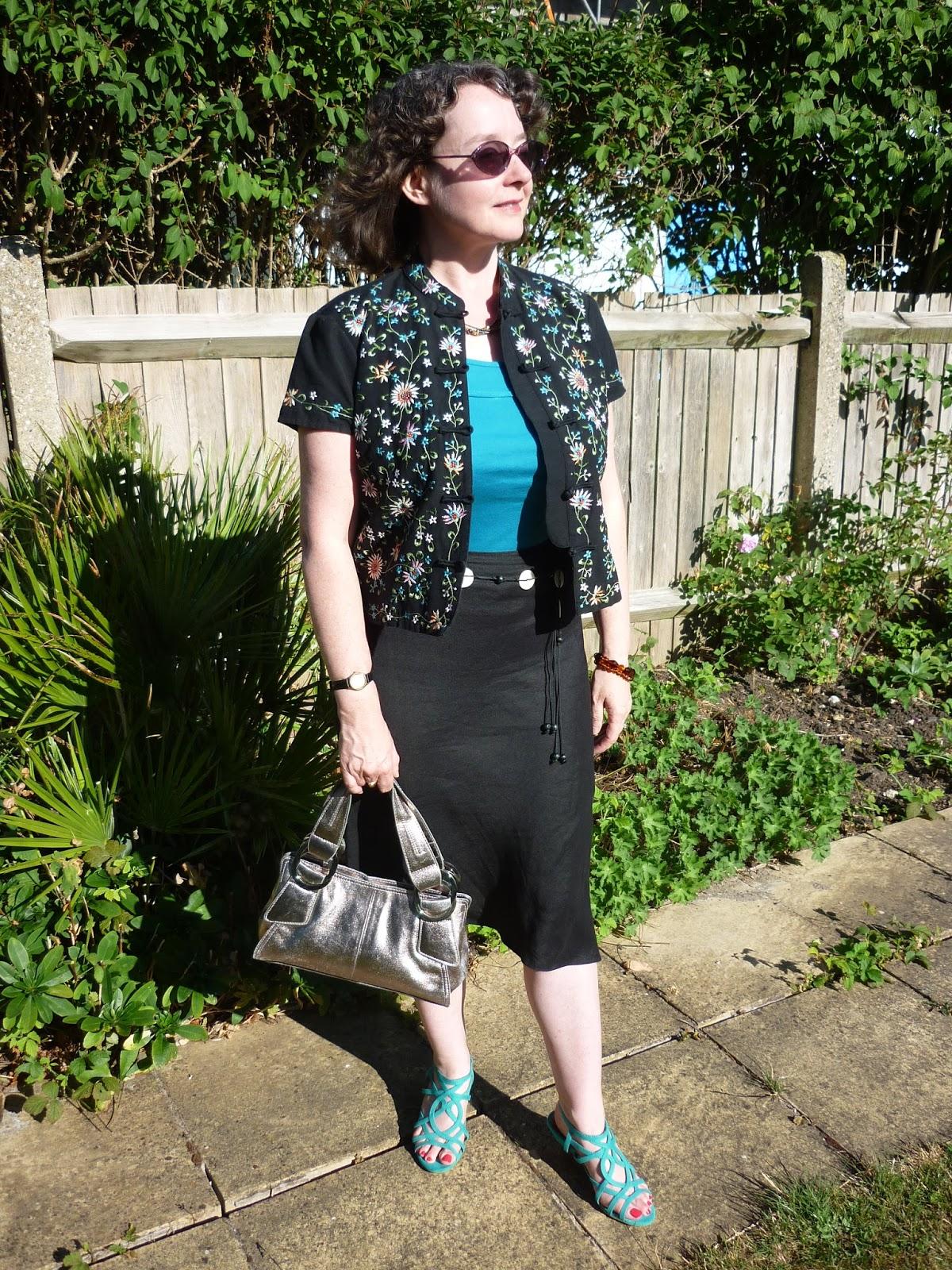 Embroidered Mandarin Jacket & Black Linen Skirt | PetiteSilverVixen
