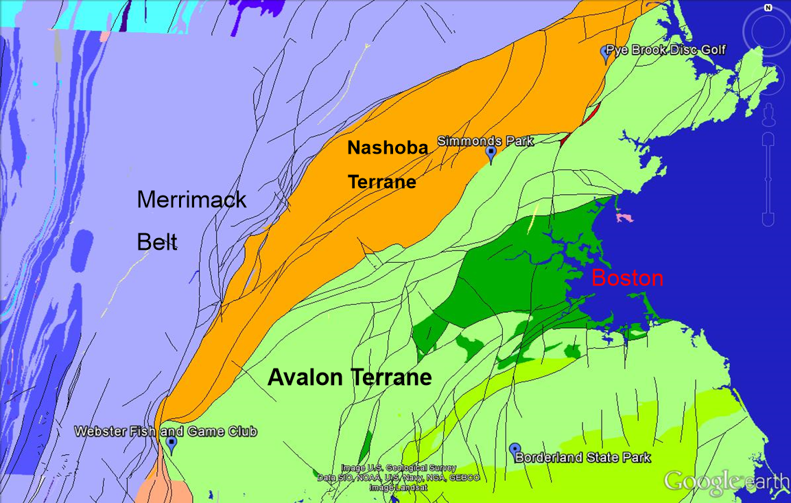 figure 2 from u s geological survey modified by wood 2016 map showing the terranes of eastern massachusetts green areas represents the avalon terrane