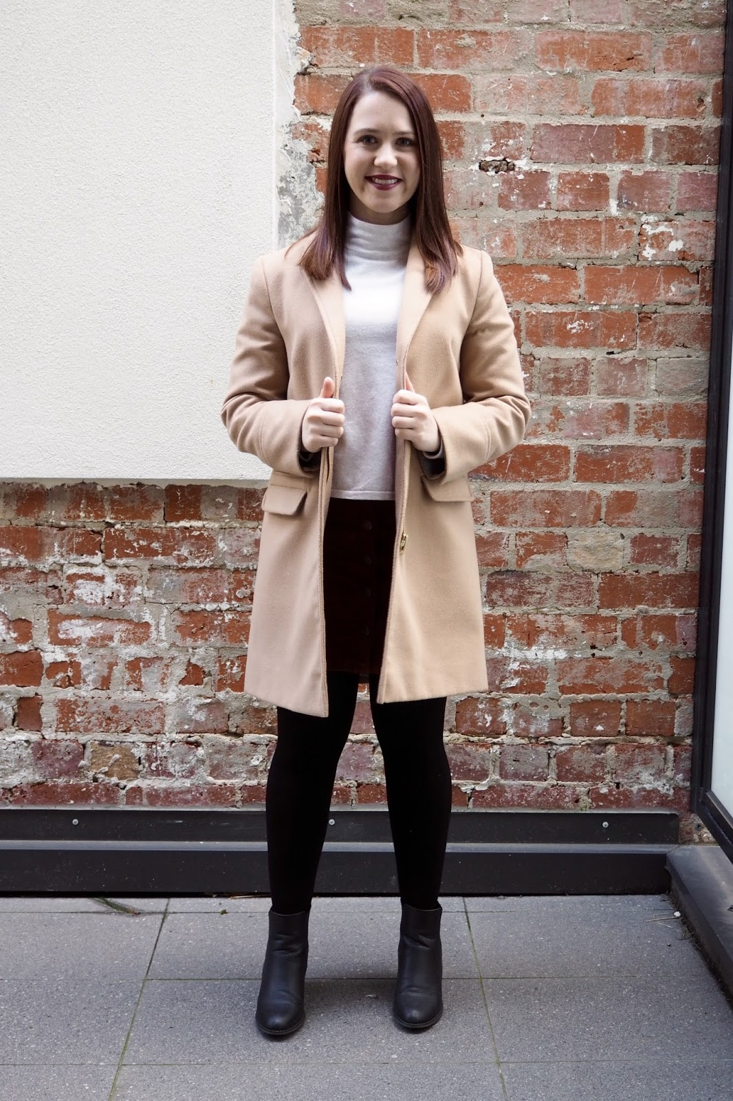 winter outfit, fall outfit, autumn outfit, work outfit, knit and cord skirt, topshop camel coat