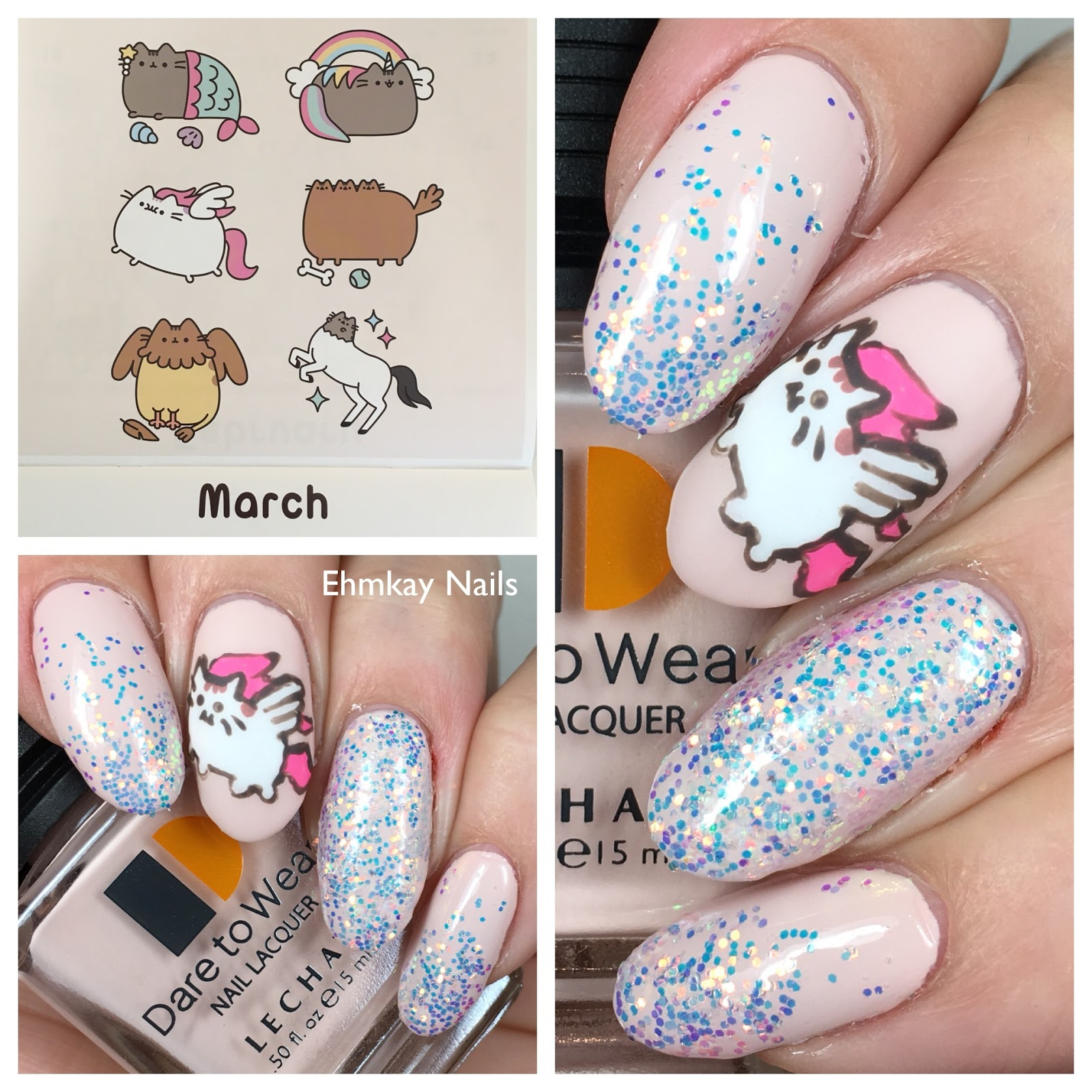 pusheen 2018 calendar series mythical pusheen nail art with born pretty unicorn glitter