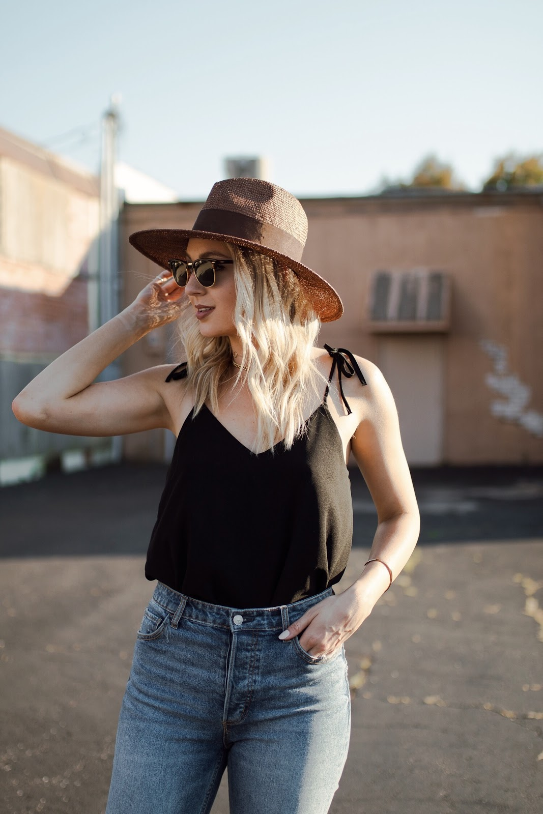 effortless summer outfit - Ray-ban Clubmaster sunnies, straw hat
