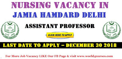 Assistant Professor (Nursing) Vacancy in Jamia Hamdard Delhi