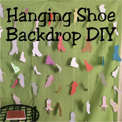 If you are throwing a spa party, a fashion party, a beauty party or any type of Girly Girl party, this DIY hanging shoe backdrop is the perfect statement piece.  It would make a great party photo backdrop or dessert table backdrop, and although it takes some time, it's totally easy and worth it!