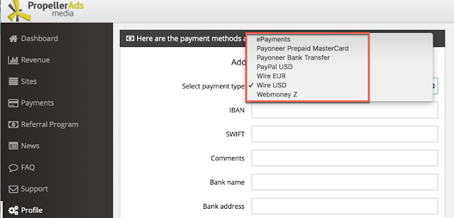 propellerads payment methods