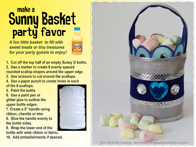 Annie Lang shares a DIY Party Favor Basket project made from a Sunny D Bottle