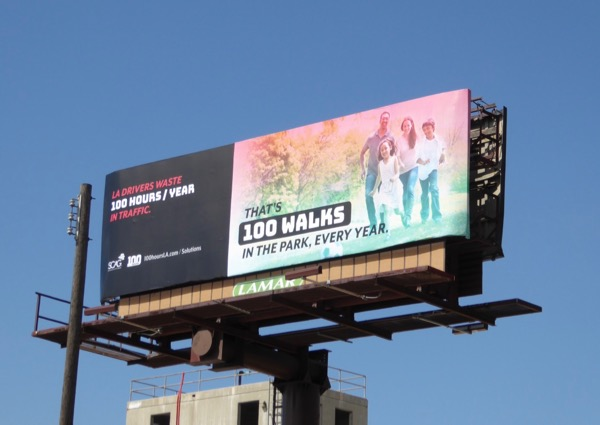 LA drivers waste 100 park walks in traffic billboard