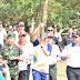 Tiba di Komplek Percandian Muaro Jambi, Api Obor Asian Games disambut oleh Bupati dan Wakil  Bupati