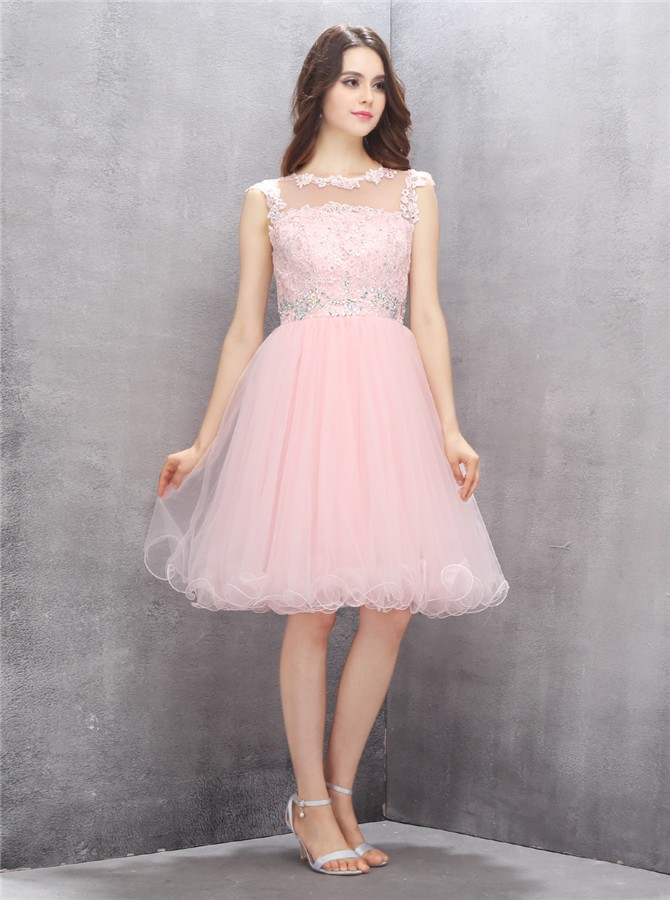 A-line Scoop Knee-length Pink Homecoming Dress with Appliques Beading