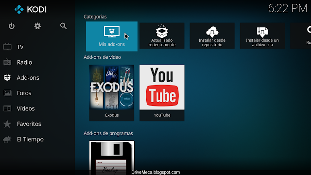 Para iniciar un backup ingresamos a Mis add-ons