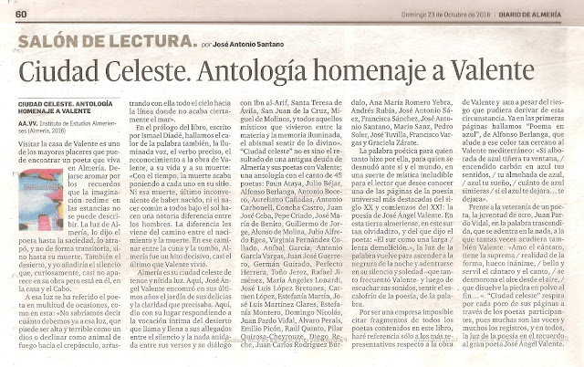 Ciudad Celeste. Antología homenaje a Valente.