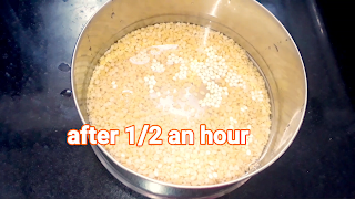 Image of soaked moong dal after 1/2 an hour