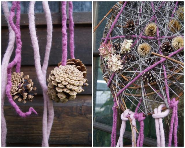Traumfänger Türkranz mit Filzschnüren Wolle und Zapfen
