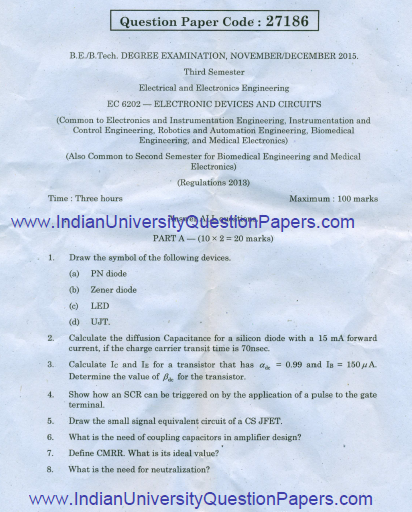 Anna University Question Bank Electric Circuits And Electron