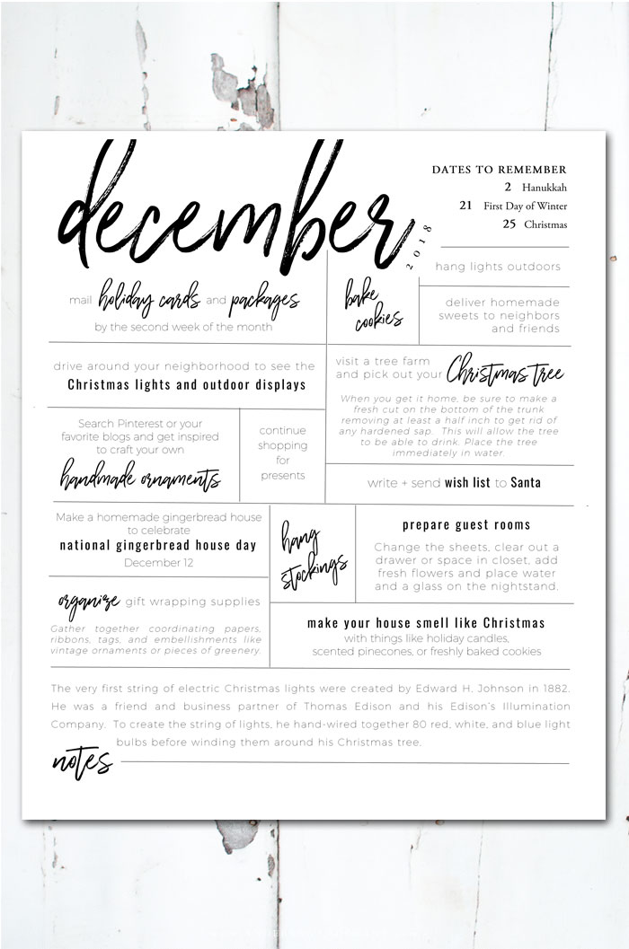 December To Do List