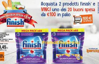 Logo Vinci la tua spesa con Finish: in palio 20 buoni spesa da 100 euro