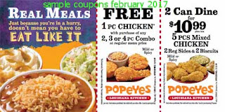 Popeyes Chicken coupons for february 2017