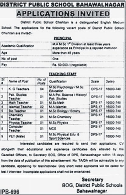 DPS Bahawalnagr Jobs in Pakistan for Teachers