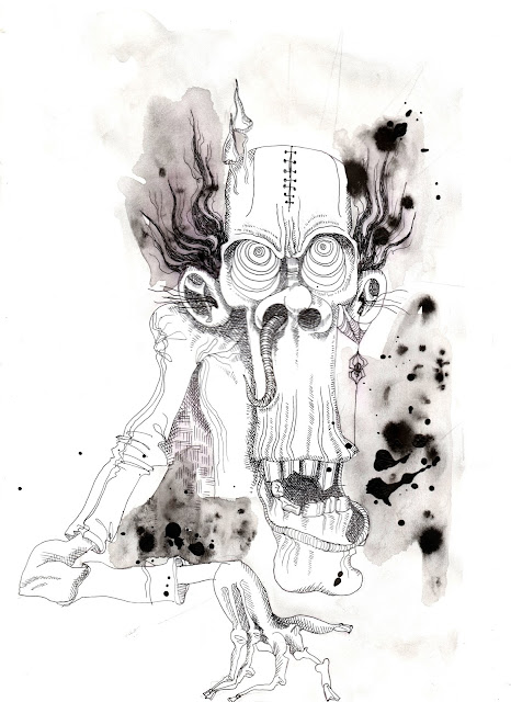 Black Acrylic Ink Zombie Art