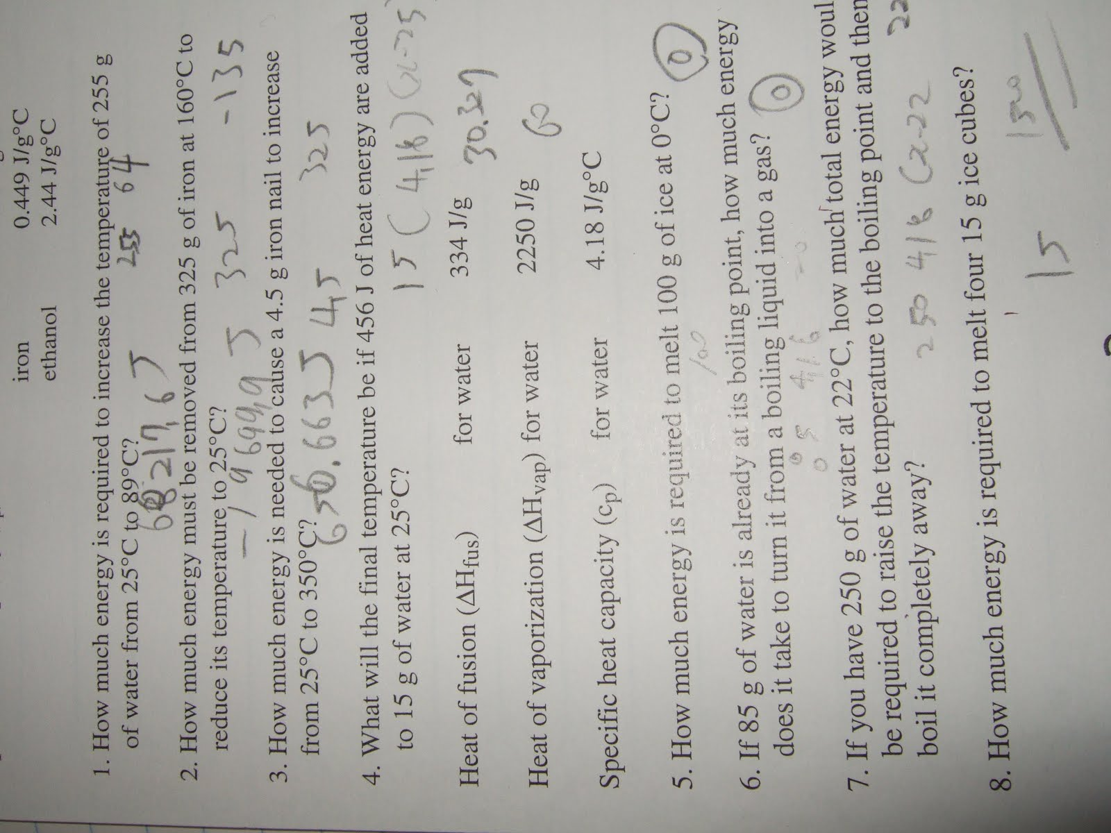 Thermochemistry Problems Worksheet Number One Answers