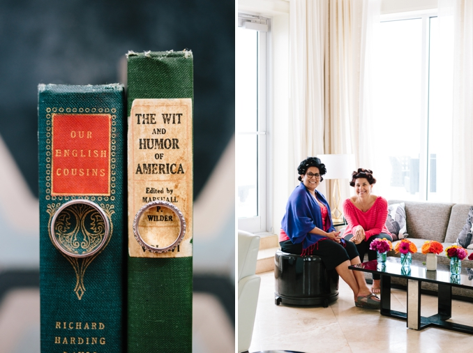 wedding bands on books / mothers of the bride and groom in their curlers