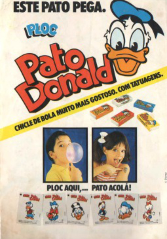 Propaganda antiga do chicle Ploc de 1991 com tatuagens do Pato Donald