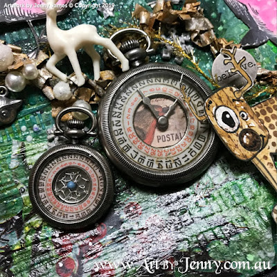 Tim Holtz Idea-Ology Date Dials and Pocket Watches - mixed media art by Jenny James