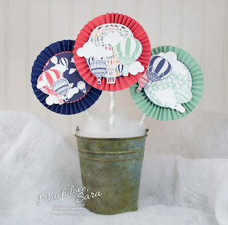 Hot Air Balloon themed Paper Rosettes - made using Stampin' Up Lift Me Up Stamps and Up & Away Thinlets