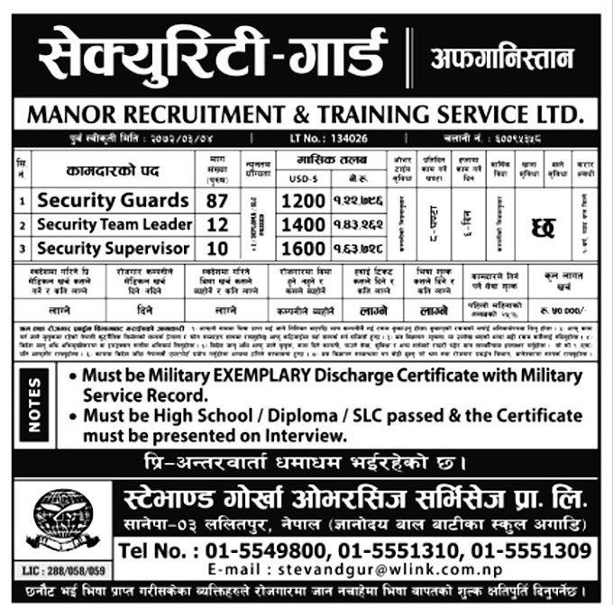 Security Guard Job Vacancy in Afghanistan, Salary Rs 1,63,628