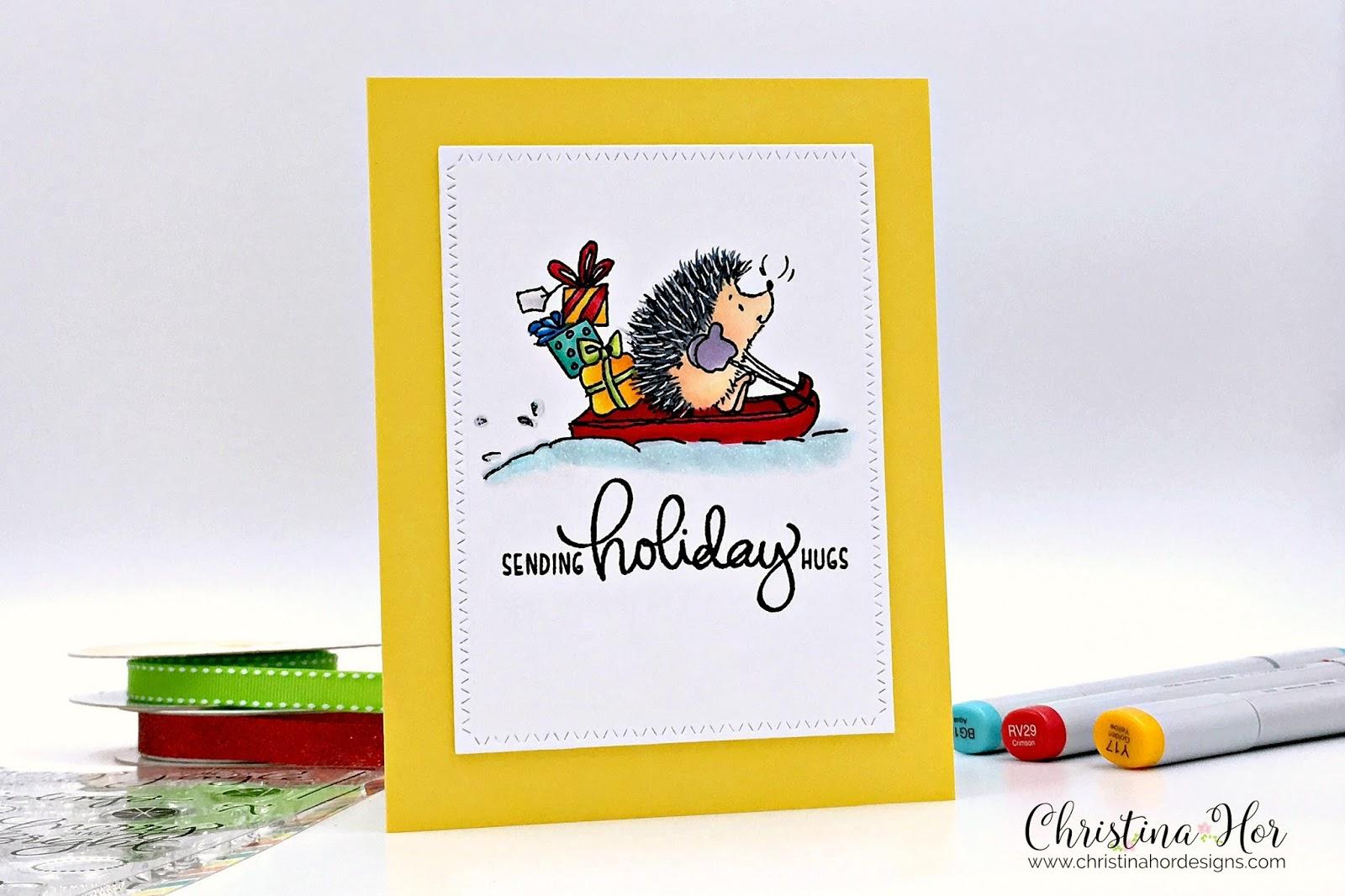 holiday card sending holiday hugs