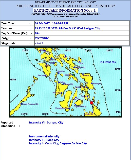 earthquake Surigao City February 10, 2017
