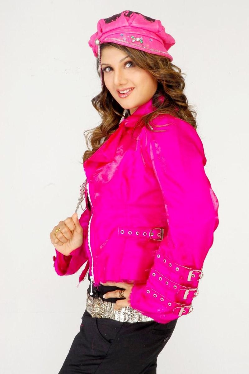 Actress Rambha Long Hair Photos In Pink Dress