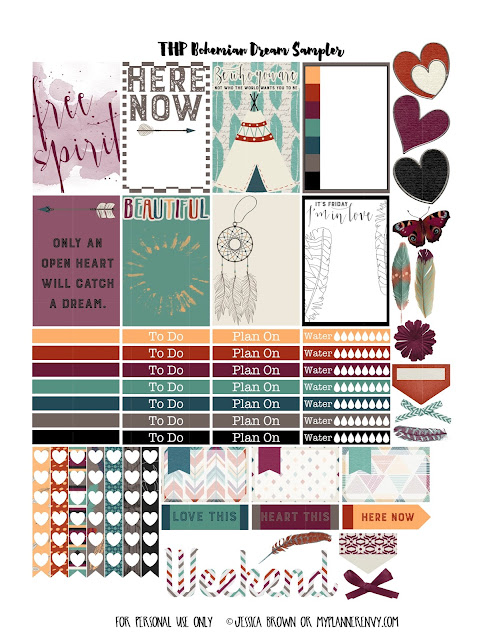 Free Printable Bohemian Dreams Sampler for The Happy Planner on myplannerenvy.com