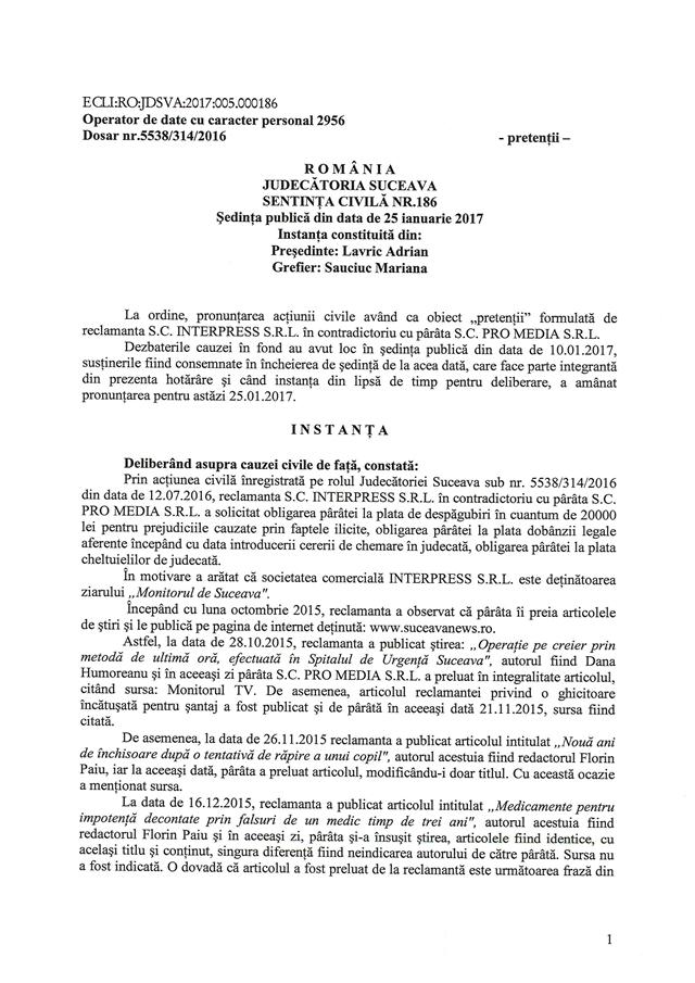 Judecătoria Suceava a legalizat furtul proprietății intelectuale