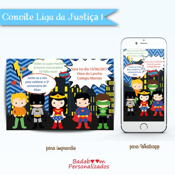 Kit de artes digitais para convite no tema Liga da Justiça
