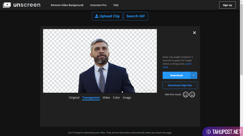 Opsi Transparan Unscreen - Menghapus Background Video Secara Otomatis