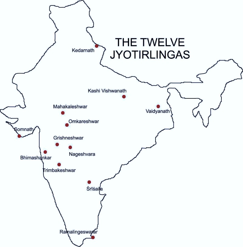 12 jyotirlingas maps in India